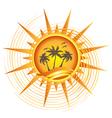 Gold tropical sun logo vector image vector image