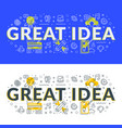 great idea flat line concept for web banner vector image