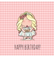 Happy Birthday card for girl cute little doodle vector image vector image