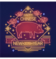 happy new 2019 year festive banner with cute pig vector image