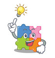 have an idea puzzle mascot cartoon style vector image