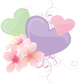 hearts and flowers pastel vector image vector image