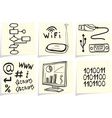 Information technology and internet sketch icons o vector image