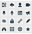 interface icons set with video edit user and vector image vector image
