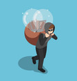 isometric thief stolen light bulb of idea and vector image vector image