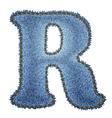 Jeans alphabet Denim letter R vector image vector image