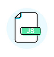 js file format extension color line icon vector image vector image