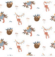 jungle animals fun cute seamless pattern vector image vector image