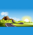 landscape with hills road and sun vector image vector image