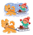 little girl sitting in a sleigh who is vector image vector image