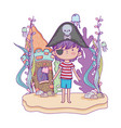 little pirate undersea with castle vector image vector image