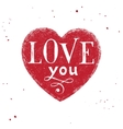 Love you type design over hand drawn heart vector image vector image