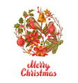 merry christmas invitation or greeting card vector image vector image