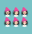 millennial girl profile pics set of flat vector image vector image