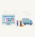 on-line shopping and delivery vector image