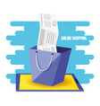 on line shopping with bag add vector image vector image