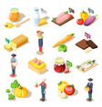 organic food isometric icons vector image