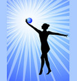 rhythmic gymnast silhouette on the abstract vector image vector image