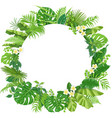 round frame with tropical leaves and flowers vector image