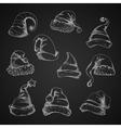 Santa hats sketch icons vector image vector image