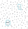 Seamless pattern with cats and footprint vector image vector image