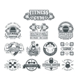Set bodybuilding badges stickers isolated on vector image vector image