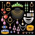 set cartoon jewelry accessories vector image