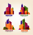 set of city logos in flat design colourful vector image vector image