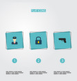 set of safety icons flat style symbols with lock vector image vector image