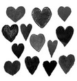 set with black heart shape drawn vector image