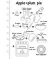 simple apple pie recipte with line art icons
