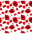 simple red flower poppy with petals on white vector image vector image