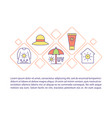 sun safety concept line icons with text vector image