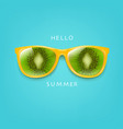 sunglasses with kiwi and mint background vector image vector image