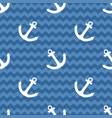 tile sailor summer pattern with white anchor vector image vector image