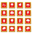 trees icons set red vector image vector image
