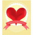 Valentines card with red heart vector image