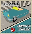 Vintage blue retro car vector image vector image