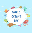 world oceans day poster save water background vector image vector image