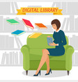 digital library concept vector image