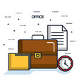 office briefcase folder paper clock objects icon vector image