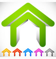 3d house icon in six colors home suburban house vector image