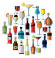 a large set alcoholic cocktails and drinks in vector image