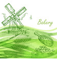 bakery set hand drawn windmill wheat grain with vector image vector image