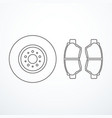 brake disk and brake pads vector image vector image