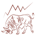 bull and bulish stock market trend vector image