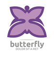 butterfly leaf purple insect spring symbol vector image