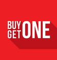 buy one get one sign long shadow vector image vector image