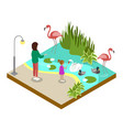 cage with flamingos isometric 3d icon vector image vector image