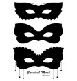 carnival mask black silhouettes vector image